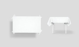 Bank white tablecloth mock up set, clipping path Royalty Free Stock Images