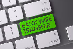 Bank Wire Transfer Button. 3D. Bank Wire Transfer Concept: Metallic Keyboard with Bank Wire Transfer, Selected Focus on Green Enter Keypad. 3D Illustration stock images