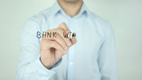 Bank Wire Transfer, Writing On Transparent Screen. Man writing stock footage