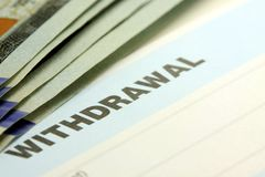 Bank withdrawal slip Stock Photography