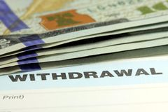 Bank withdrawal slip Stock Photos
