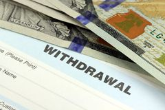 Bank withdrawal slip Royalty Free Stock Photos