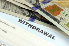 Bank withdrawal slip Royalty Free Stock Photos
