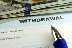 Bank withdrawal slip Royalty Free Stock Photo