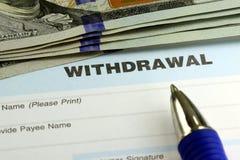 Bank withdrawal slip Royalty Free Stock Photo