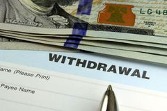 Bank withdrawal slip royalty free stock photography