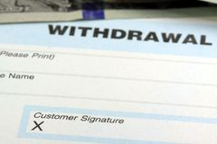Bank withdrawal slip - Customer Signature Stock Photography