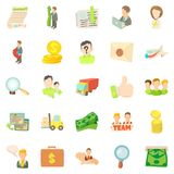 Bank worker icons set, cartoon style Royalty Free Stock Image