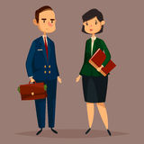 Bank worker in suit and banker woman with papers. Banker man with dollar banknotes in bag or case and finance woman with document folder. Cartoon worker of bank Stock Image