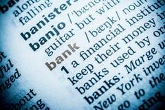 Bank-Wort-Definition lizenzfreie stockbilder