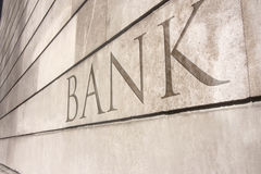 Bank writing carved onto a stone wall Royalty Free Stock Photo