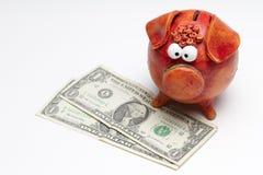 bank wystawia rachunek dolarowego prosiątko my Fotografia Stock