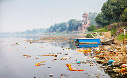 Bank Yamuna rzeka blisko Taj Mahal agra fort bramy indu czerwone Obraz Royalty Free