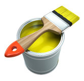 Bank with yellow  paint and brush Stock Photography