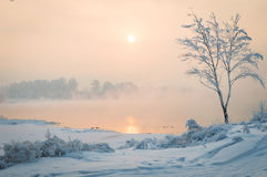 Bank of the Yenisei river in Krasnoyarsk. Winter day on the banks of the Yenisei river Stock Photo