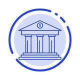 Bank, Zaken, Financiën, de Bouw, Geld, het Blauwe Pictogram van de Gestippelde Lijnlijn vector illustratie