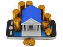 Banka budynek na smartphone Zdjęcie Royalty Free