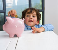 banka chłopiec prosiątko Zdjęcie Stock