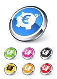 banka euro ikony prosiątko royalty ilustracja