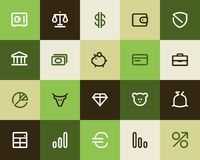 Banka i finanse ikony. Mieszkanie royalty ilustracja
