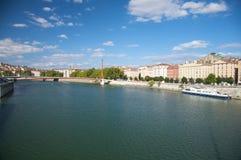 banka Lyon Rhone rzeka Obrazy Stock