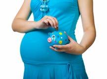 banka mienia prosiątka kobieta w ciąży Fotografia Royalty Free