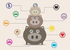 banka pieniądze prosiątka kładzenia oszczędzanie ilustracji