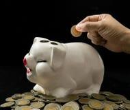 banka pieniądze prosiątka kładzenia oszczędzanie Obraz Royalty Free
