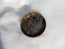 Banka pieniądze w śniegu Fotografia Royalty Free