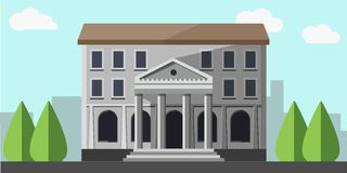 Banka popielaty budynek odizolowywający blisko zielonych drzew wektorowego obrazka royalty ilustracja