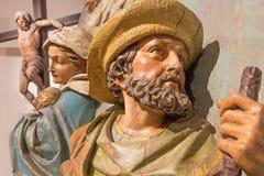 Banka Stivnica - detaljen av den sned statyn av St Joseph och Mary som delen av den barocka calvaryen Royaltyfri Bild