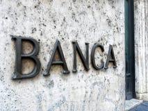 Banka wejścia znaka marmuru ściana Fotografia Royalty Free