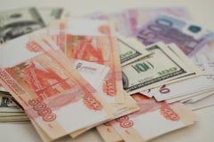 Bankbanknoten Dollar, Euro, Rubel Stockfotos