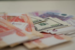 Bankbanknoten Dollar, Euro, Rubel Stockfotografie