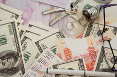 Bankbanknoten Dollar, Euro, Rubel Lizenzfreie Stockfotografie