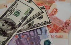 Bankbanknoten Dollar, Euro, Rubel Stockbilder