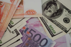 Bankbanknoten Dollar, Euro, Rubel Lizenzfreie Stockfotos
