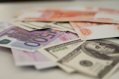 Bankbanknoten Dollar, Euro, Rubel Lizenzfreies Stockbild