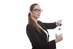 Bankbediende met waterfles Royalty-vrije Stock Foto's