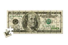Bankbiljet 100 dollarsraadsel Stock Afbeelding