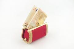 Bankbiljet in de portefeuille Stock Foto