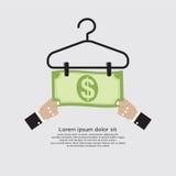 Bankbiljet Droog op Kleerhangerfinanciën en Bedrijfsconcept Stock Foto's