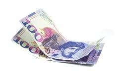 Bankbiljet 100 GEL geïsoleerd Georgië, financiën Royalty-vrije Stock Foto's