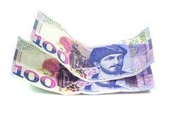 Bankbiljet 100 GEL geïsoleerd Georgië, financiën Stock Fotografie
