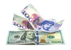 Bankbiljet 100 GEL geïsoleerd Georgië, financiën Stock Afbeeldingen