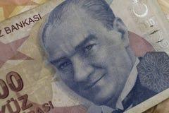 Bankbiljet met het beeld van Mustafa Kemal stock foto's