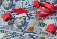 Bankbiljet met Kerstman Stock Fotografie