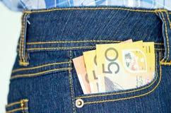 Bankbiljet in pocket2 Stock Foto's