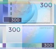 Bankbiljet 300 van het bonmalplaatje met guilloche patroonwatermerken en grens Blauw bankbiljet als achtergrond, giftbon, coupon, vector illustratie