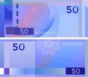 Bankbiljet 50 van het bonmalplaatje met guilloche patroonwatermerken en grens Blauw bankbiljet als achtergrond, giftbon, coupon,  royalty-vrije illustratie